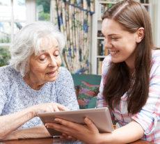 Assisting elder woman